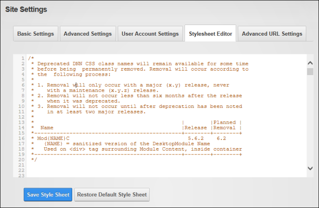 About the Stylesheet Editor