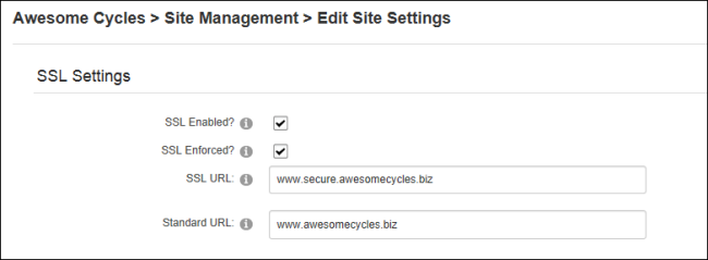 Setting SSL Settings for a Site