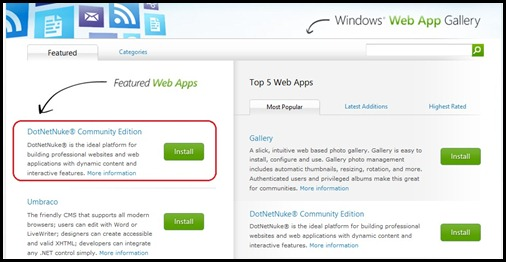 Windows Web App Gallery