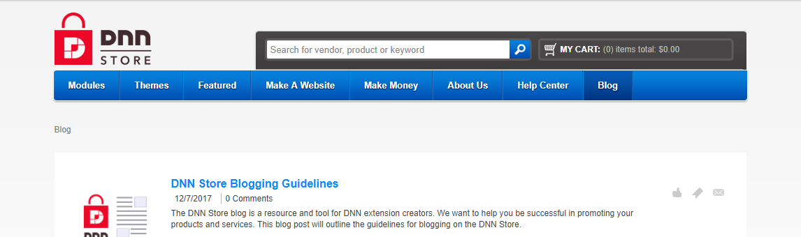 DNN Store Blog Screen Capture
