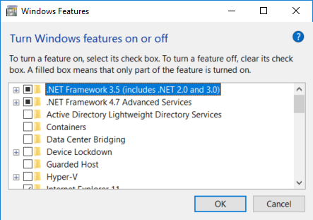 Screen Capture - Turning Windows Features On or Off