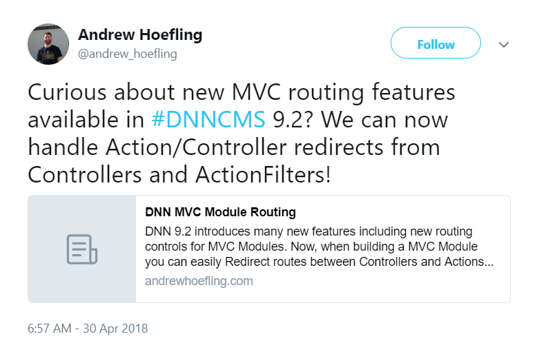 Andrew Hoefling tweeted about MVC Routing in DNN