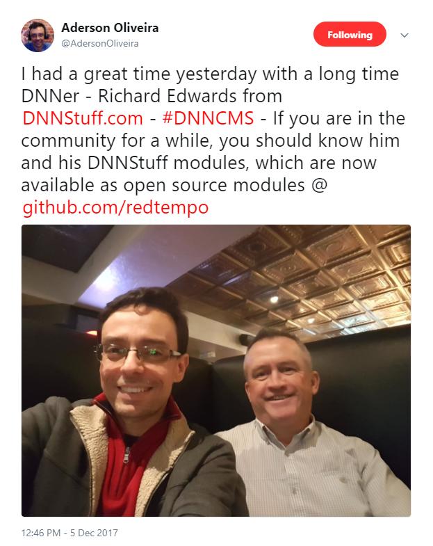 Aderson Oliveira's Tweet featuring Richard Edwards of DNN Stuff