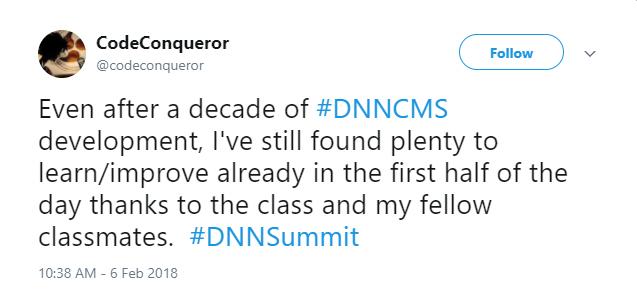 CodeConqueror enjoyed DNN Summit Training