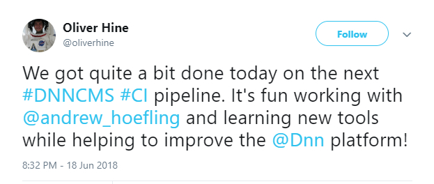 Oliver Hine tweeted about the progress the DNN TAG is making