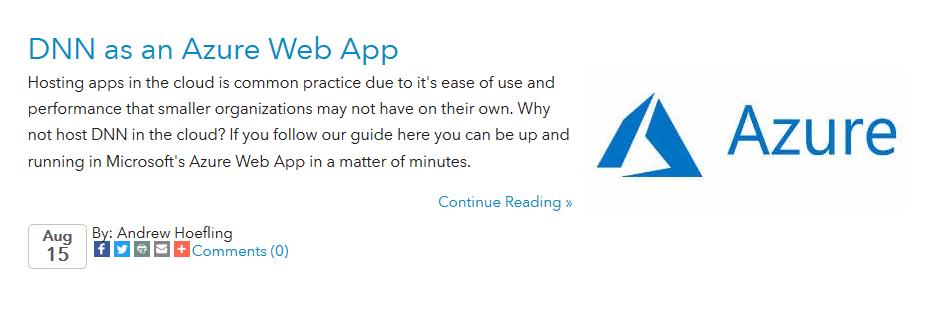 DNN as an Azure Web App Blog Summary Image