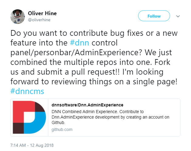 Oliver Hine tweeted about updates to the Persona Bar.