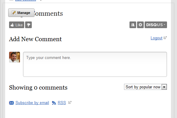 Disqus Comments on a Page