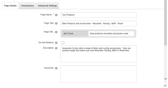 DNN - Page Settings for SEO Title and Description