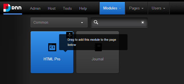 DNN control bar - bookmarked modules