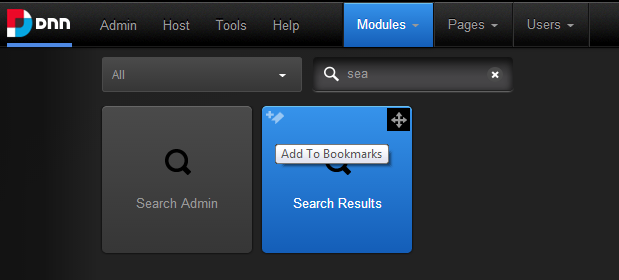 DNN control bar - search and add bookmark