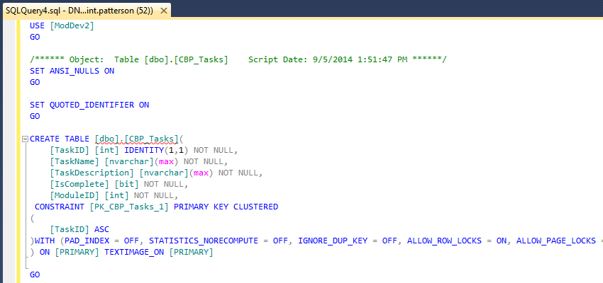 Create Tasks Table Script Code in SQL Server