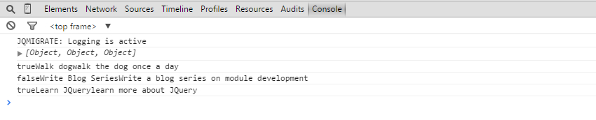 Logging objects in a loop in the console