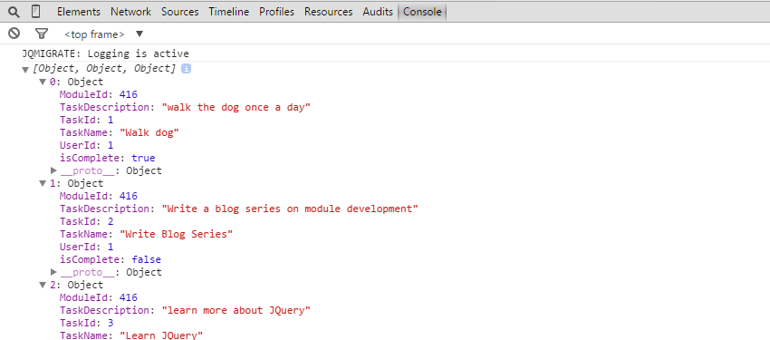 Logging objects in the console