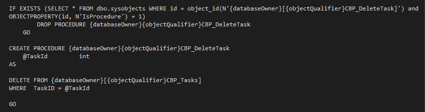 The Delete Task SQLDataProvider Code