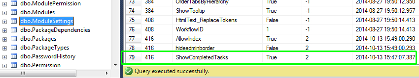 Settings in Database
