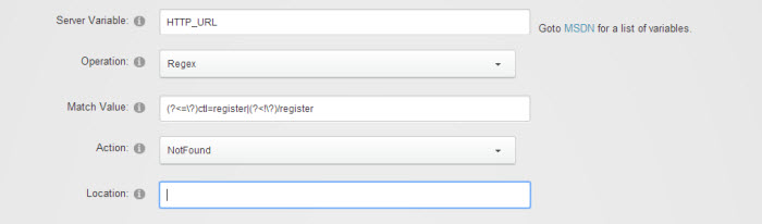 Create new Request Filter to prevent default registration page