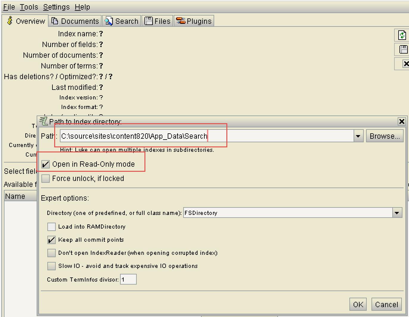 Using luke to peek into lucene search database dnn software lucene database baditri Gallery