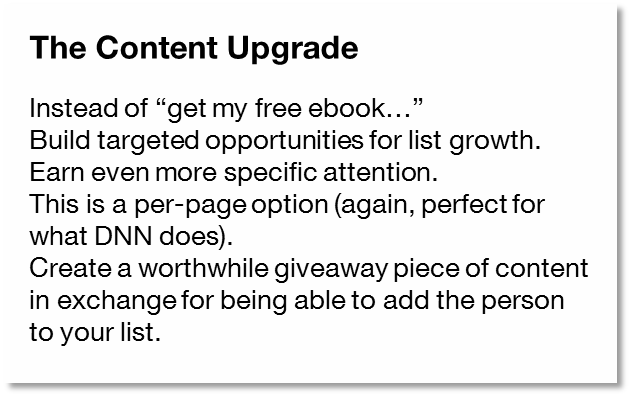 Content Upgrade concept from Chris Brogan