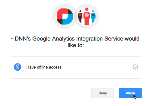 Google Analytics - authorization window