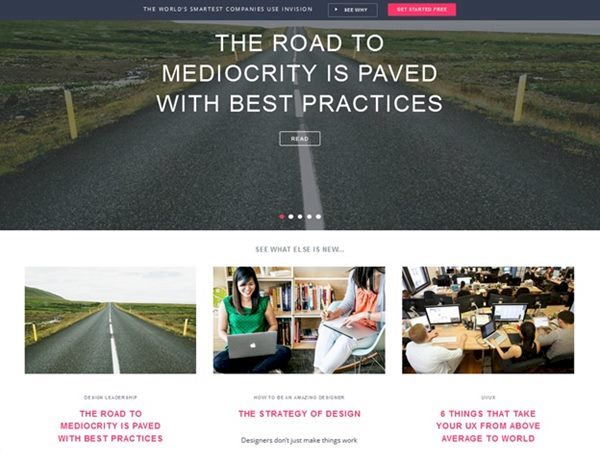 homepage for InVision's blog