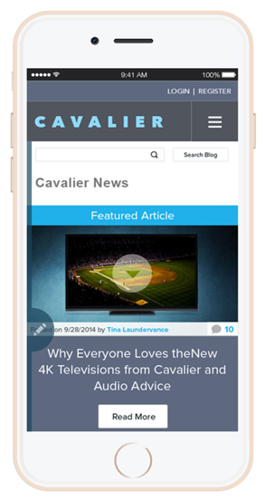 publisher front page - mobile view