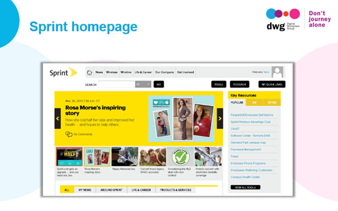 sprint intranet homepage