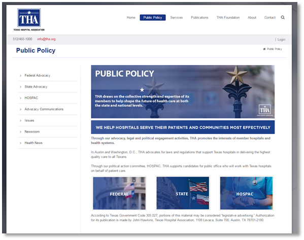 Texas Hospital Association public policy page