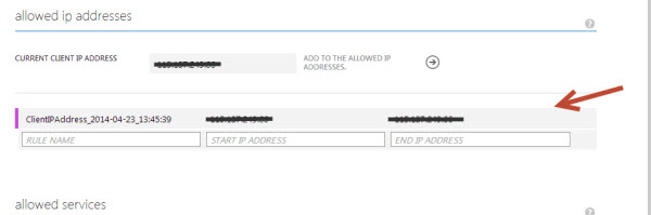 Azure SQL Database IP Address firewall
