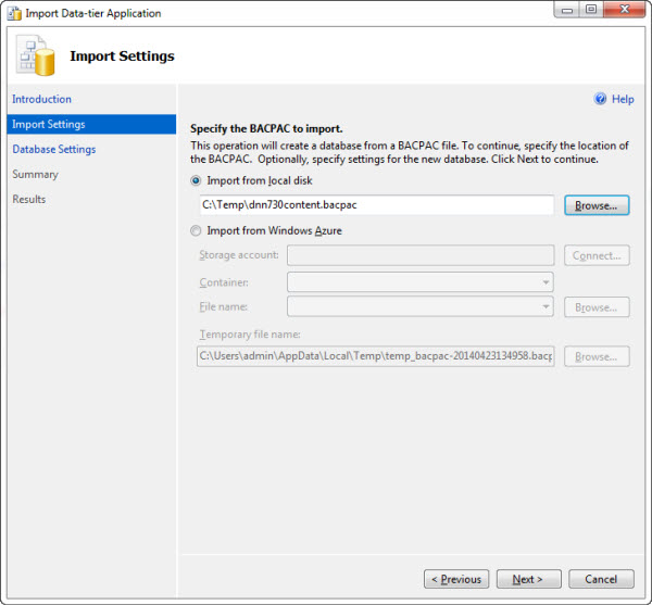 Importing Data Tier Application for importing DNN Database to Azure