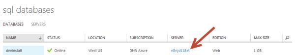Azure SQL Database Server Name DNN Installation