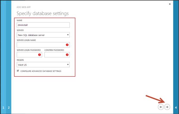 DNN Azure Website SQL Azure Database Creation