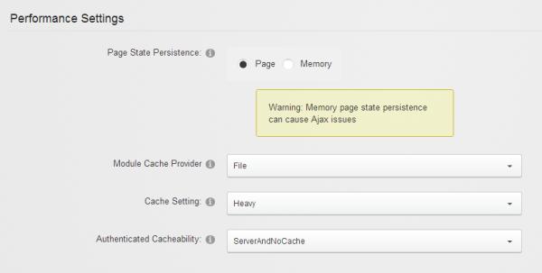 DNN Performance Settings Windows Azure Websites