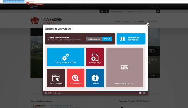 DNN Welcome Page Popup