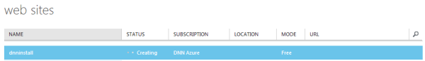 new Windows Azure Website being created