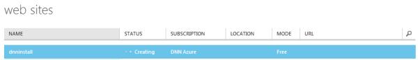 new Windows Azure Website being created