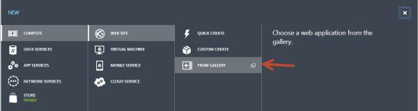 New WIndows Azure Website from Gallery