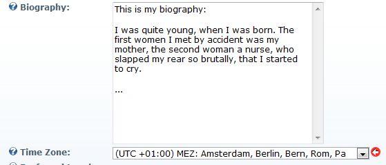 Biography Textbox