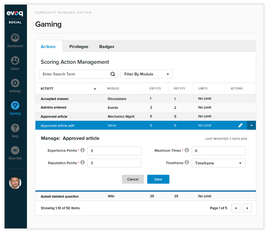 Evoq gamification dashboard