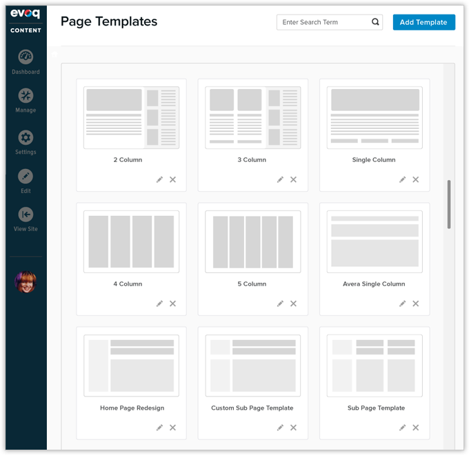 available page templates