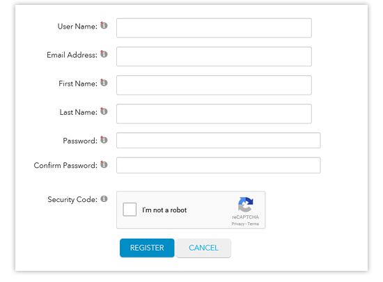 CAPTCHA validation on registration page