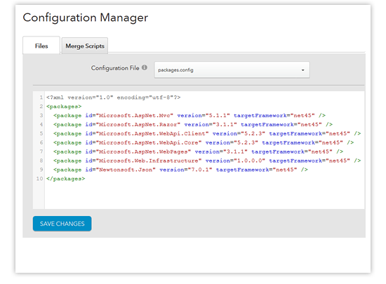 configuration manager - packages.config