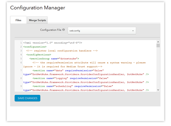 configuration manager - web.config