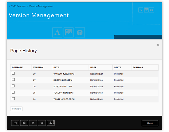 version management - detailed page history