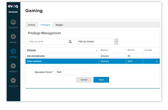 Evoq gamification: privilege management