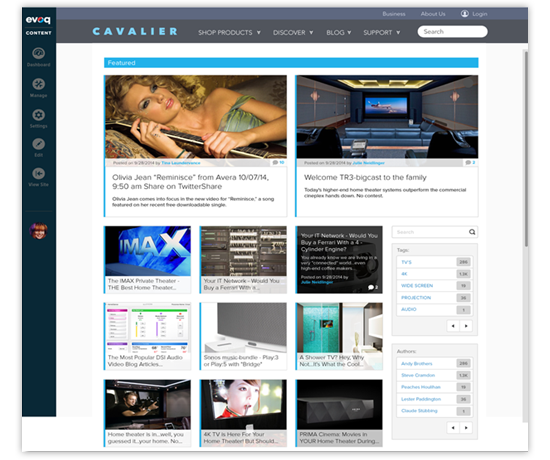 Evoq Publisher: front page view