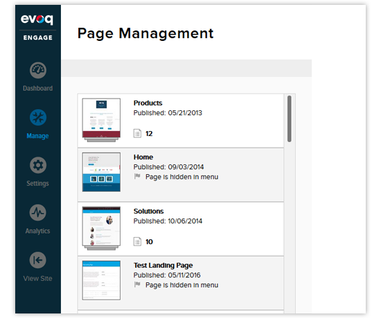 Mobile-responsive page management in Evoq