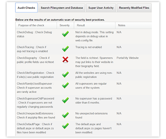 security analyzer - audit checks