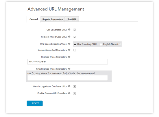 advanced url management - settings