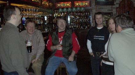 in the Bar, ltr: John, Cathal, Charles, Leigh, Nina and Bruce (and ne behind the camera)